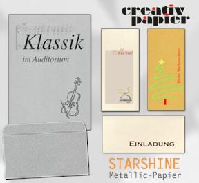 Anwendungsbeispiele für STARSHINE - Visitenkarten, Menükarten, Weihnachtskarten, Einladungen, Speisekarten, Getränkekarten