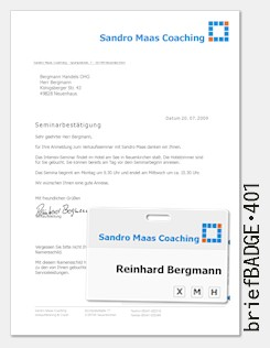 briefBADGE 401 - Formular mit intergriertem Namensschild für Tagungen, Seminare, Messen und Ausstellungen