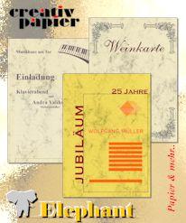 Anwendungsbeispiele für creativ elfenbein  - Visitenkarten, Menükarten, Urkunden, Einladungen, Speisekarten, ...