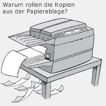 Kopierpapier rollt sich aus der Papierablage