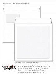 Panorama-Fensterumschläge 220 x 220 mm HK