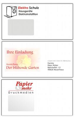 Beispiele für bedruckte Laserbriefumschläge